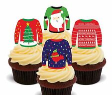 Ugly Christmas Jumpers - Wafer Cupcake Toppers, Fairy Cake Bun Decorations Funny