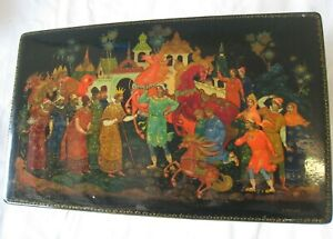 Fantastic Palekh Russian Hand Painted Black Lacquer Box Hinged Signed w/COA #33