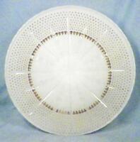 Anchor Hocking Milk Glass Cake Plate Gold Fleur de Lis Vintage Wedding Pastry