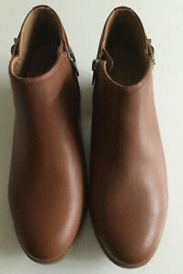 Vionic Size 7 Wide Orthotic Millie Tan Brown Leather Ankle Boot FMT Technology