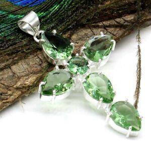 """925 Sterling Silver Green Amethyst Gemstone Jewelry Cross Pendant Size-2"""""""