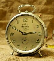 Vintage Wehrle Alarm Clock 3 in 1, Unique & Rare Clock Gray Dial Made Of Chrome