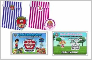 PERSONALISED PAW PATROL BIRTHDAY PARTY INVITES & CANDY / SWEET BAGS + STICKERS