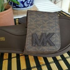 Michael Kors  Womens Slide Sandals Mini MK Logo,PVC  Brown NEW  SIZE 8