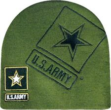 Embroidered US Army Military Black Logo Star Beanie Stocking Cap Skull Hat Green