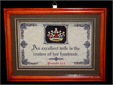 EXCELLENT WIFE IS THE CROWN OF HER HUSBAND-Bible Verse Plaque,Wife,Wedding,Gifts