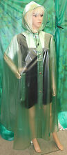 shiny see through green pvc vinyl long cape XXL heavy weight material hooded