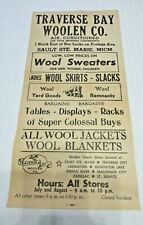 ADVERTISING Traverse City Bay Woolen Company SAULT STE MARIE MICHIGAN WINDOW AD