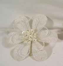 Winter Christmas Garland Decor. White Sparkle Poinsettia Flower Clip Ornament