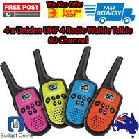Uniden UH35-4 UHF 4 Handheld 80 Channel Radio Walkie Talkies + Belt Clips Rugged