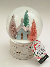 NEW Woodland Country CHURCH Christmas Snow Globe with Bottle Brush Trees
