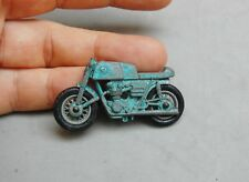 "Motorcycle Dirt Bike Miniature Toy Die Cast Rubber Wheels Blue #7 Vintage 2""x1"""