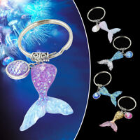 Women's Glitter Sequins Mermaid Fish Scale Tail Pendant Keychain Key Ring Acces
