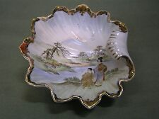 Vintage Porcelain Hand Painted Oriental Shell Bowl
