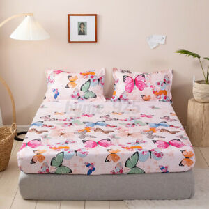 Soft Butterfly Fitted Sheet Elastic Band Bed Mattress Cover With Pillowcases AU