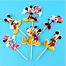 24 pcs Cartoon Mickey Mouse Minnie Cupcake Toppers Pick Kids Party Supplies NEW!