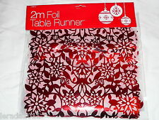 CHRISTMAS TABLE RUNNER RED SILVER 2M LONG PARTY FOIL FESTIVE GOLD 3 COLOURS