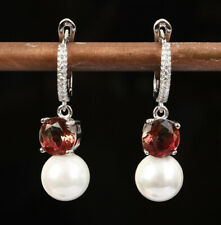 CIRCLES TOPAZ MAJORCA PEARL .925 SOLID STERLING SILVER EARRINGS #55531