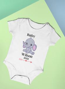 Personalised Baby Vest Bodysuit Unisex Elephant Reveal Baby Shower Gift Idea