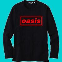 New Oasis British Rock Band Logo Men's Black Long Sleeve T-Shirt Size S-3XL