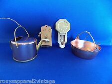 Copper and Brass Telephone Clock Watering Can Pot Dollhouse Ornament Vintage