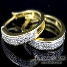 LADIES WOMEN'S GENUINE REAL .25CT DIAMOND HOOP LOOP EARRINGS YELLOW GOLD FINISH