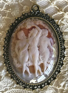 3 GRACES DANCING Glass Dome PENDANT NECKLACE Vintage Victorian Cameo Goddess