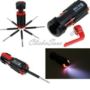 8 in 1 Multi Screwdriver with 6 LED Torch Hand Repair Tools Up Multi-functional
