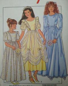 Vintage Style Girl's Bridesmaid Dress Sewing Pattern 4196 Size 8-10-12 UNCUT