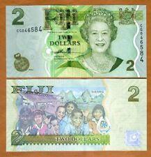 FIJI, 2 dollars, 2007, P-109a, QEII, UNC