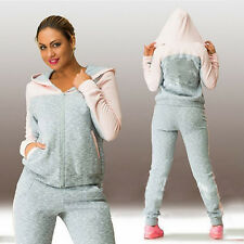 2Pcs Lady Women Melange Tracksuit Hoodie Sweatshirt Pants Set Sport Jogging Suit