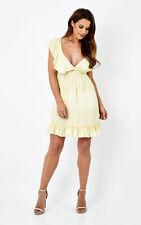 Liquorish Polka Dot Tea Dress Yellow Size M/L LF077 LL 16