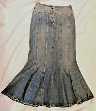 c37244f68d527 Jeanology Maxi Skirt Denim Flare Trumpet Mermaid Gored 30