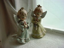 Vtg 1960s Christmas Angel 2 Figurines Hand Painted Pastel Colors Ceramic