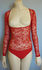 Red, Sequined Lace Body Stocking, Sleeves for Belly Dance, Costumes, Small