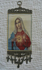 Sacred Heart of Mary Woven Tapestry Wall Hanging With Crosses Crucifixes