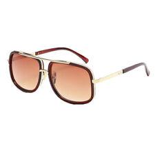 Oversized Square Aviator Gold Metal Bar Men Designer Fashion Sunglasses With Box