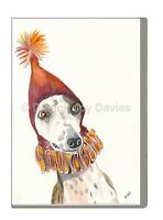 Funny Whippet Party Hat Print from Watercolour A4 A3 Birthday Mothers Day Gift
