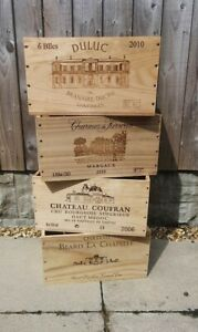 1 X GENUINE FRENCH 6 BOTTLE WOODEN WINE BOX. MANY USES - STORGAGE/GARDEN ETC