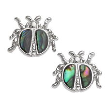 Blue Green Abalone / Paua Shell Ladybird / Bug Silver Stud Earrings