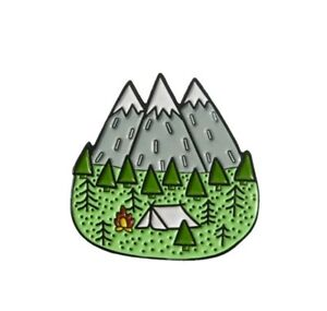 Mountain camping scene trees tent campfire enamel pin badge 25mm
