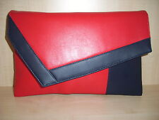 OVER SIZED COLOR BLOCK RED & NAVY BLUE Faux leather clutch. made in the UK