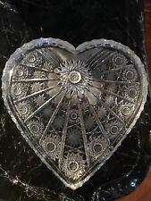 New ListingVintage Heart Shaped Cut Glass Crystal Dresser Tray Dish
