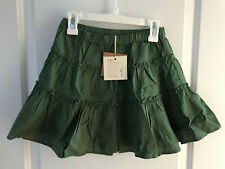 NWT Olive Juice Girls 6y Army Green Linen Skirt New