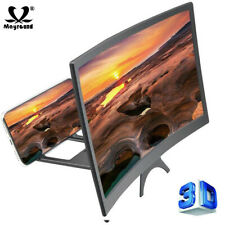 """12"""" Screen Magnifier 3D Curved HD Video Amplifier Phone Stand Holder Enlarge"""