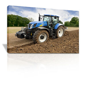 Blue tractor digging a field Children's bedroom canvas print - C029