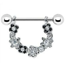 Crystal Surgical Steel Flower Nipple Shield Classical Bar Ring Body Piercing