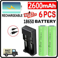 2600mAh 18650 Battery Li-ion Flat Top RC Rechargeable Batteries With US Charger