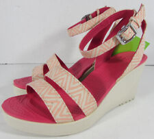 $55 Crocs Womens Leigh Graphic Wedge Open Toe Shoes, Melon/Stucco, US 9