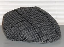 POLO RALPH LAUREN Houndstooth Lambswool Driving Hat, Flat Lid Cap, Gray, L/XL
